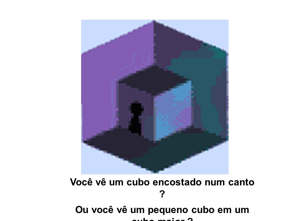 Você vê um cubo encostado num canto ? Ou você vê um pequeno cubo em um cubo maior ?