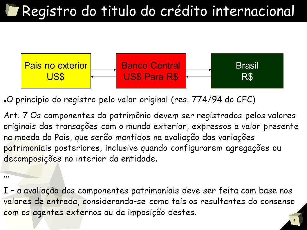 1 Registro do titulo do crédito internacional Pais no exterior US$ Banco Central US$ Para R$ Brasil R$ ■ O princípio do registro pelo valor original (res.