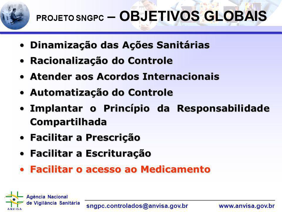 Agência Nacional de Vigilância Sanitária www.anvisa.gov.brsngpc.controlados@anvisa.gov.br PROJETO SNGPC – OBJETIVOS GLOBAIS Dinamização das Ações Sani