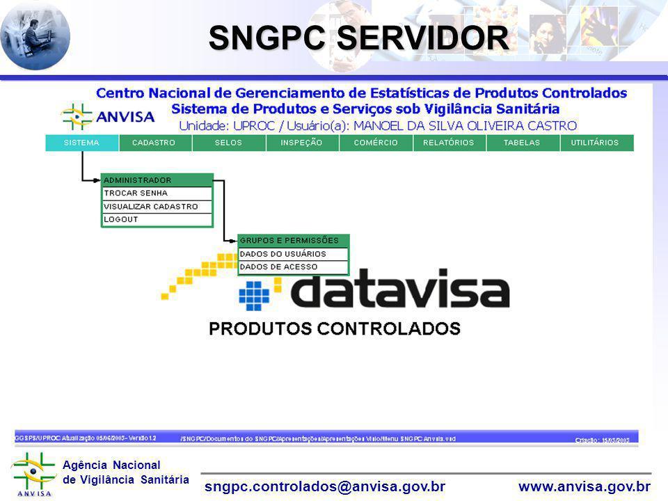 Agência Nacional de Vigilância Sanitária www.anvisa.gov.brsngpc.controlados@anvisa.gov.br SNGPC SERVIDOR