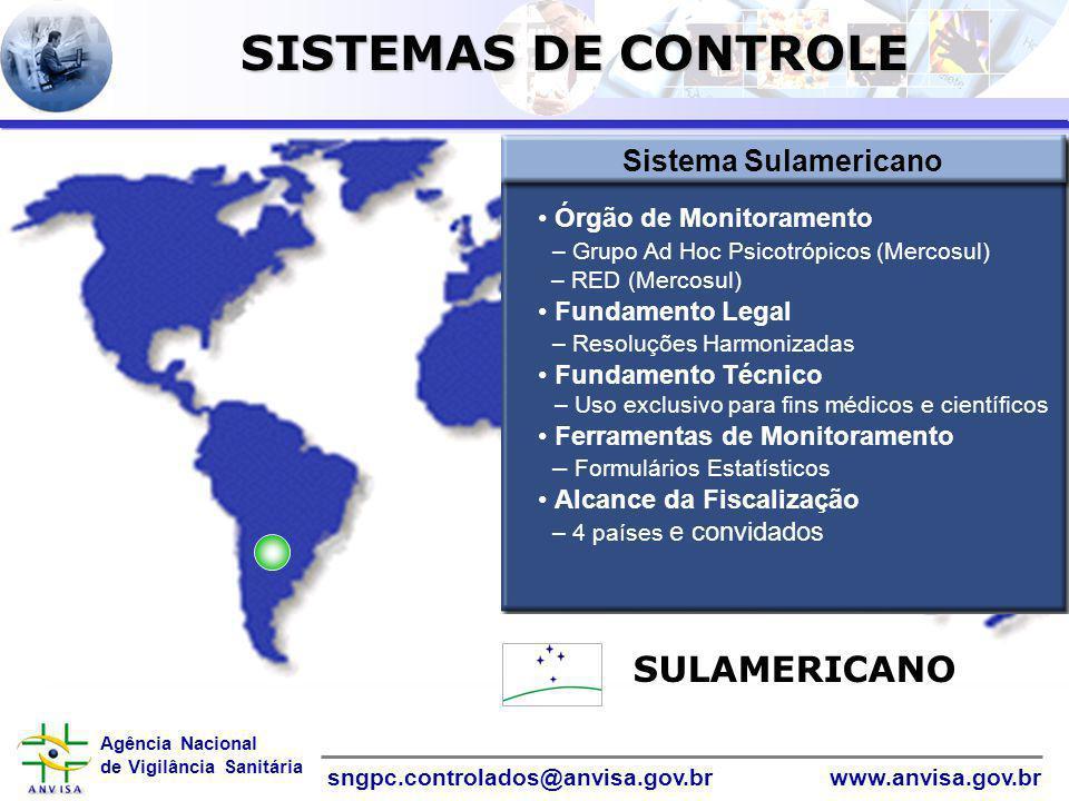 Agência Nacional de Vigilância Sanitária www.anvisa.gov.brsngpc.controlados@anvisa.gov.br InformáticaInformática SULAMERICANO Sistema Sulamericano Órg