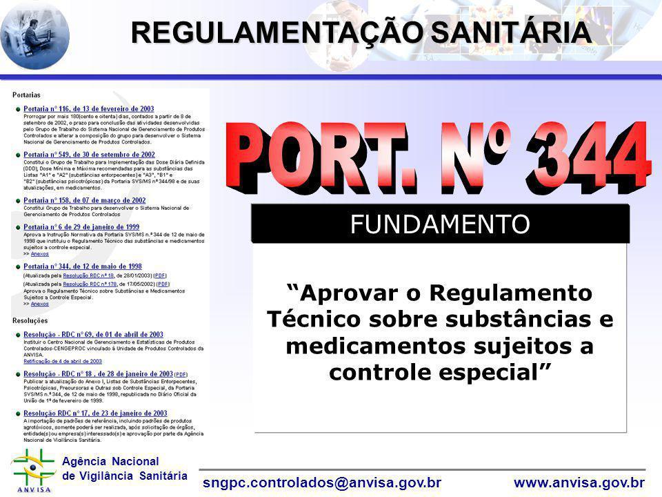 """Agência Nacional de Vigilância Sanitária www.anvisa.gov.brsngpc.controlados@anvisa.gov.br InformáticaInformática """"Aprovar o Regulamento Técnico sobre"""