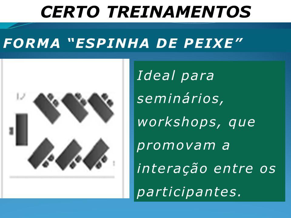 """CERTO TREINAMENTOS FORMA """"ESPINHA DE PEIXE"""" Ideal para seminários, workshops, que promovam a interação entre os participantes."""