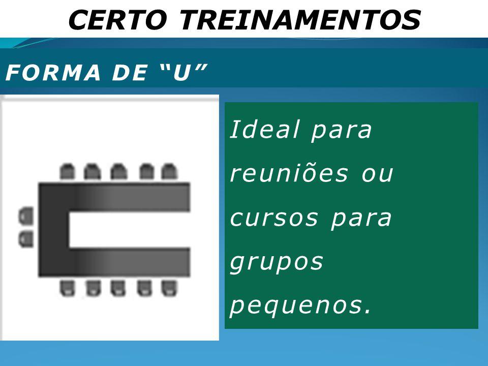 """CERTO TREINAMENTOS FORMA DE """"U"""" Ideal para reuniões ou cursos para grupos pequenos."""