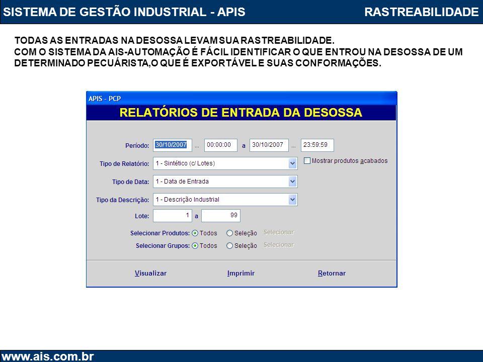 SISTEMA DE GESTÃO INDUSTRIAL - APIS www.ais.com.br RASTREABILIDADE TODAS AS ENTRADAS NA DESOSSA LEVAM SUA RASTREABILIDADE. COM O SISTEMA DA AIS-AUTOMA