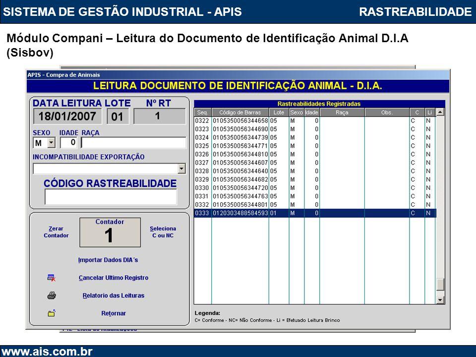 SISTEMA DE GESTÃO INDUSTRIAL - APIS www.ais.com.br Módulo Rastr_Abate – Leitura do Brinco do Animal (Sisbov) RASTREABILIDADE