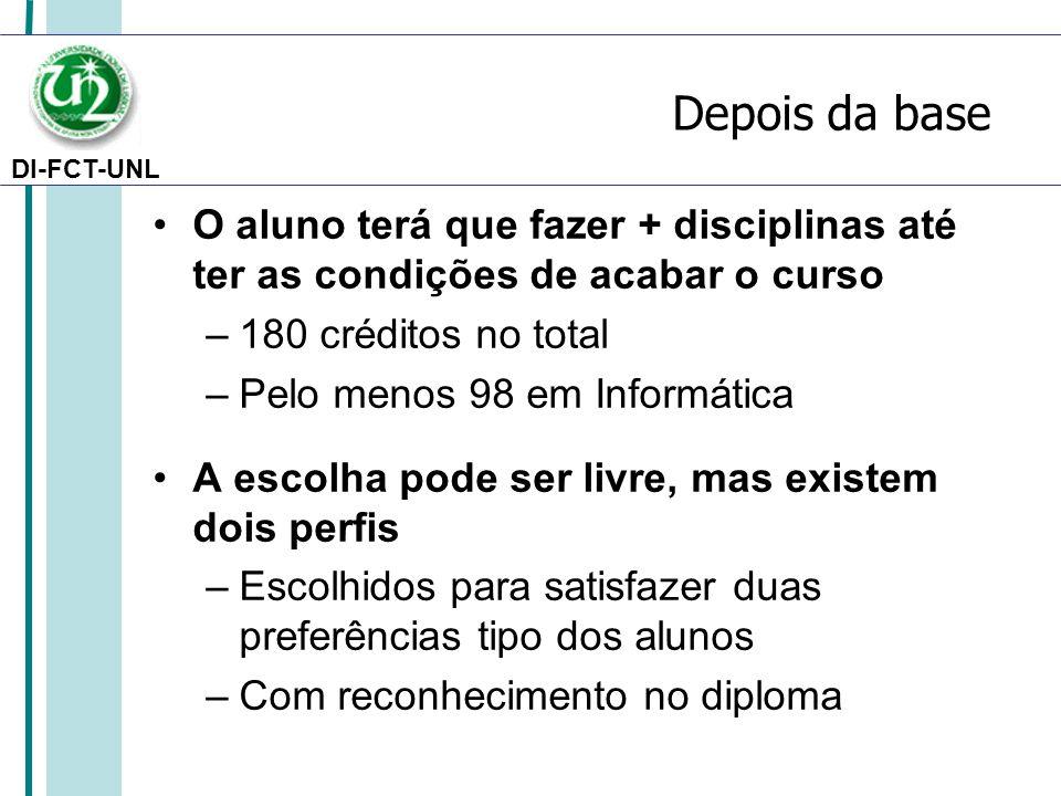 DI-FCT-UNL Depois da base O aluno terá que fazer + disciplinas até ter as condições de acabar o curso –180 créditos no total –Pelo menos 98 em Informá
