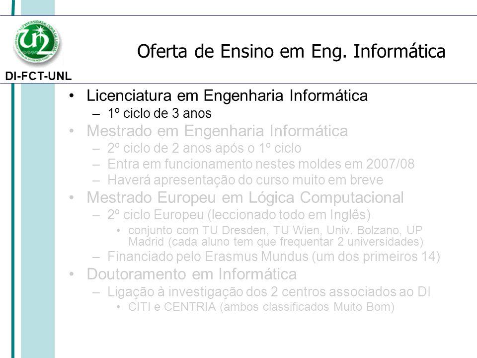 DI-FCT-UNL Oferta de Ensino em Eng. Informática Licenciatura em Engenharia Informática –1º ciclo de 3 anos Mestrado em Engenharia Informática –2º cicl
