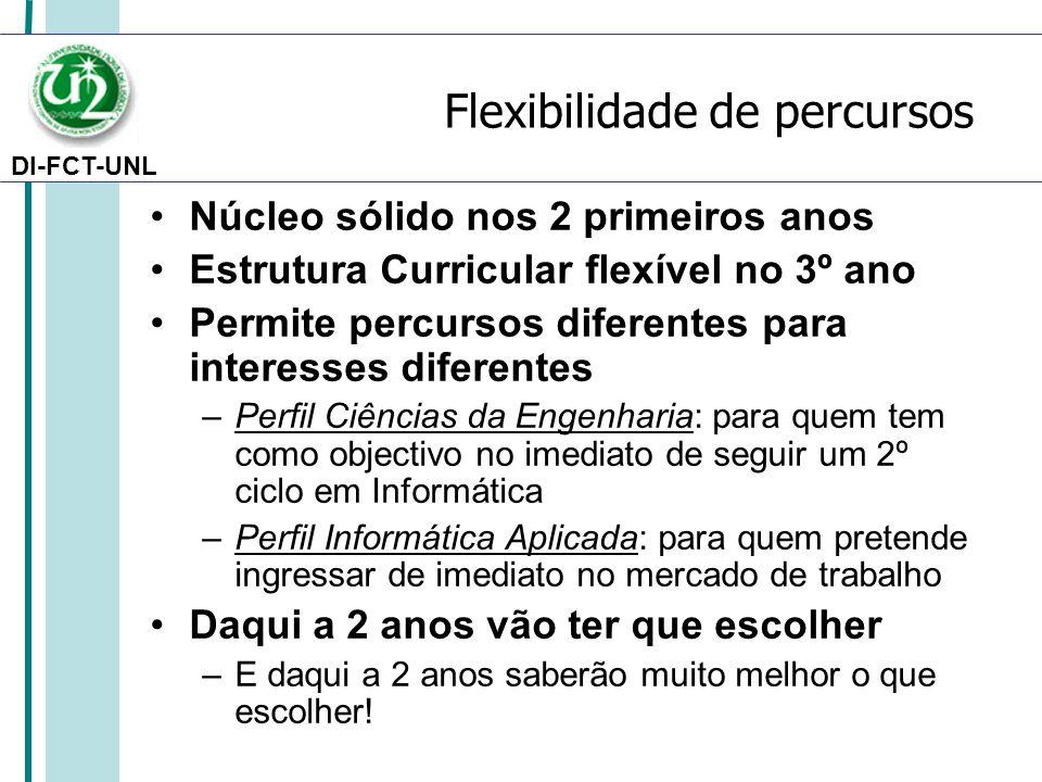 DI-FCT-UNL Flexibilidade de percursos Núcleo sólido nos 2 primeiros anos Estrutura Curricular flexível no 3º ano Permite percursos diferentes para int