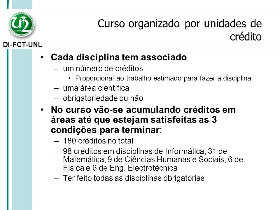 DI-FCT-UNL Curso organizado por unidades de crédito Cada disciplina tem associado –um número de créditos Proporcional ao trabalho estimado para fazer