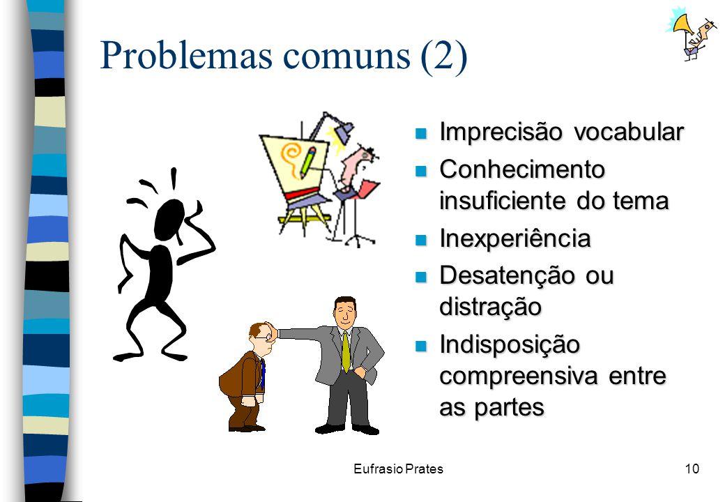 Eufrasio Prates10 Problemas comuns (2) n Imprecisão vocabular n Conhecimento insuficiente do tema n Inexperiência n Desatenção ou distração n Indisposição compreensiva entre as partes