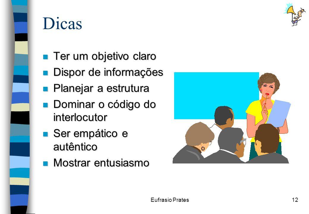Eufrasio Prates12 Dicas n Ter um objetivo claro n Dispor de informações n Planejar a estrutura n Dominar o código do interlocutor n Ser empático e autêntico n Mostrar entusiasmo