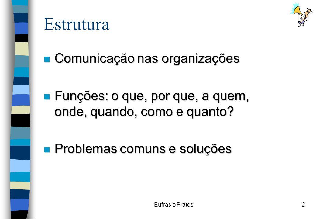 Eufrasio Prates2 Estrutura n Comunicação nas organizações n Funções: o que, por que, a quem, onde, quando, como e quanto.
