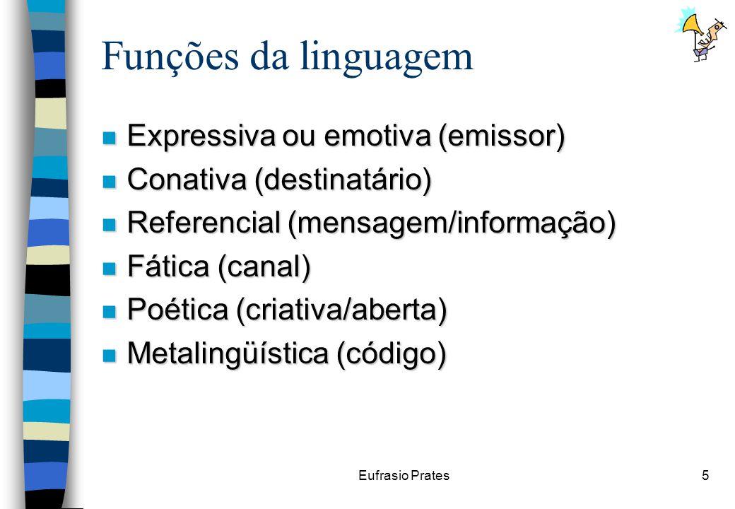 Eufrasio Prates5 Funções da linguagem n Expressiva ou emotiva (emissor) n Conativa (destinatário) n Referencial (mensagem/informação) n Fática (canal) n Poética (criativa/aberta) n Metalingüística (código)