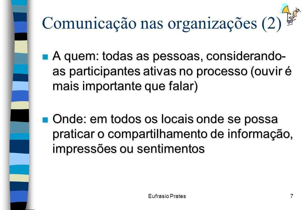 Eufrasio Prates7 Comunicação nas organizações (2) n A quem: todas as pessoas, considerando- as participantes ativas no processo (ouvir é mais importante que falar) n Onde: em todos os locais onde se possa praticar o compartilhamento de informação, impressões ou sentimentos