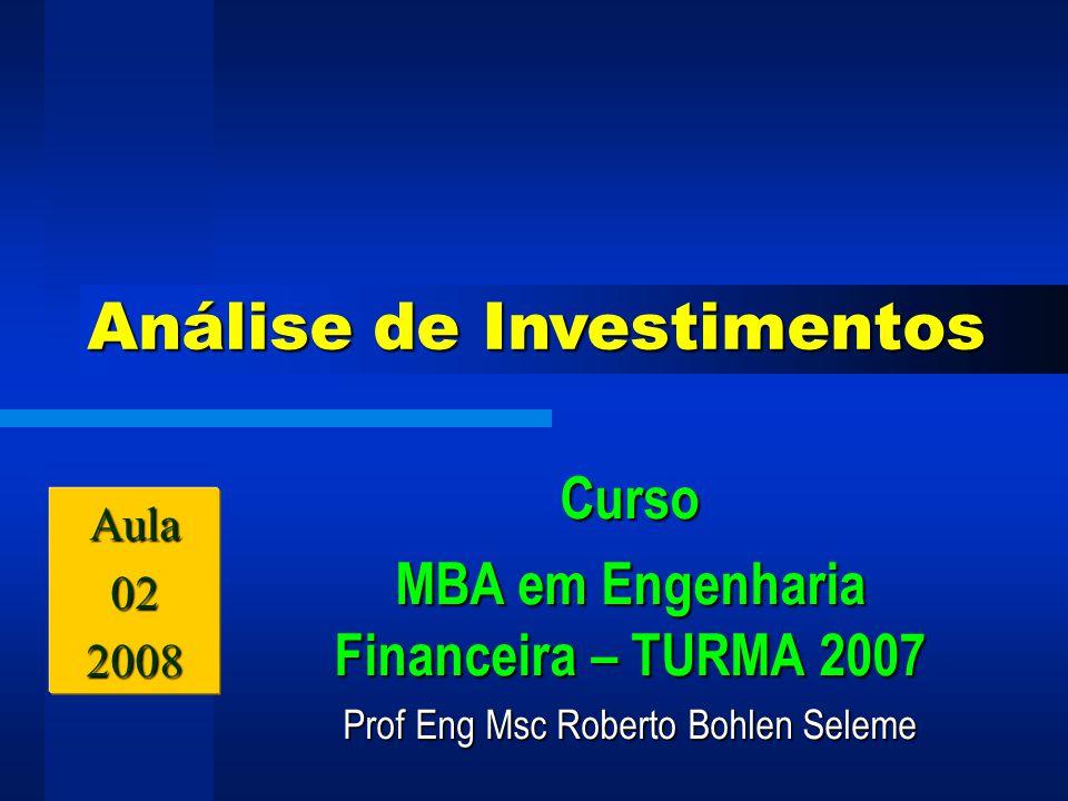 Prof Eng Msc Roberto Bohlen Seleme 18 Pagamentos efetuados no final do período Série de pagamento periódicos uniformes Série de pagamento periódicos uniformes