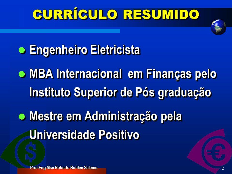 Análise de Investimentos Curso MBA em Engenharia Financeira – TURMA 2007 Prof Eng Msc Roberto Bohlen Seleme INSTITUTO BRASILEIRO DE PÓS GRADUAÇÃO IBPEX –GRUPO UNINTER