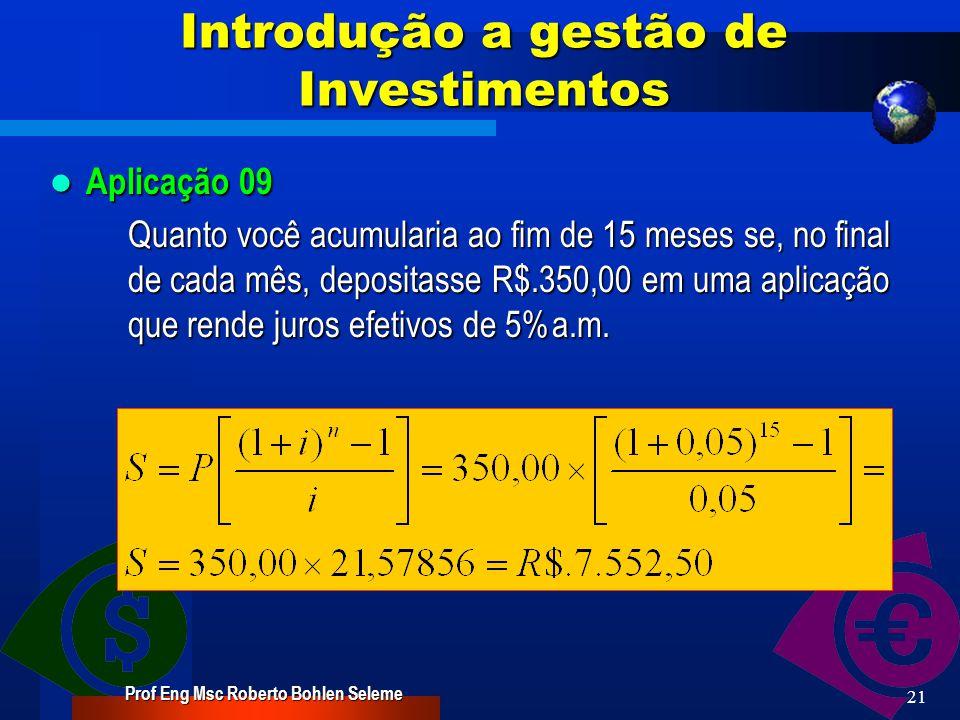 20 Introdução a gestão de Investimentos Aplicação 08 Aplicação 08 Determinar o número de prestações necessárias para pagar um financiamento de R$.1.200,00.