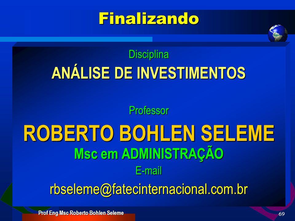 Prof Eng Msc Roberto Bohlen Seleme 68Investimentos Investimentos em renda fixa Investimentos em renda fixa Mercado de ações Mercado de ações Mercados Futuros Mercados Futuros Mercado de Opções Mercado de Opções Fundos de investimentos Fundos de investimentos