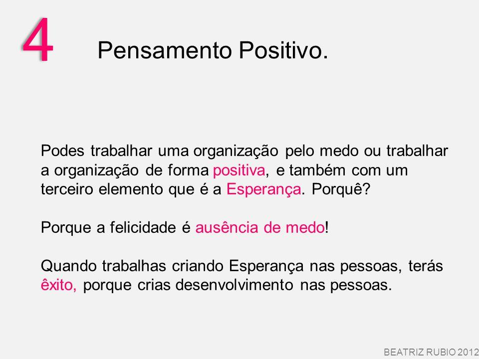 4 BEATRIZ RUBIO 2012 Pensamento Positivo. Podes trabalhar uma organização pelo medo ou trabalhar a organização de forma positiva, e também com um terc