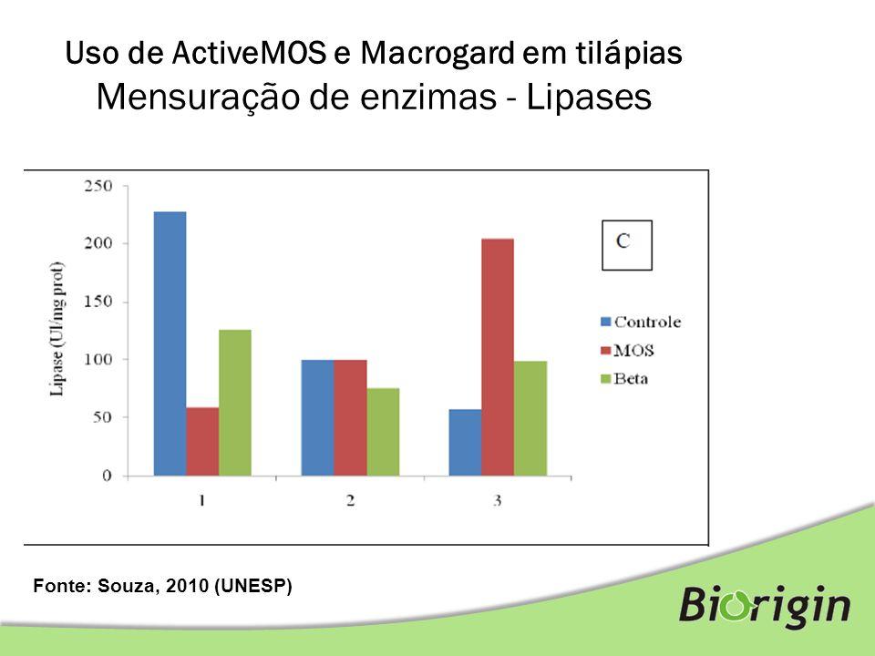 Fonte: Souza, 2010 (UNESP) Uso de ActiveMOS e Macrogard em tilápias Mensuração de enzimas - Lipases