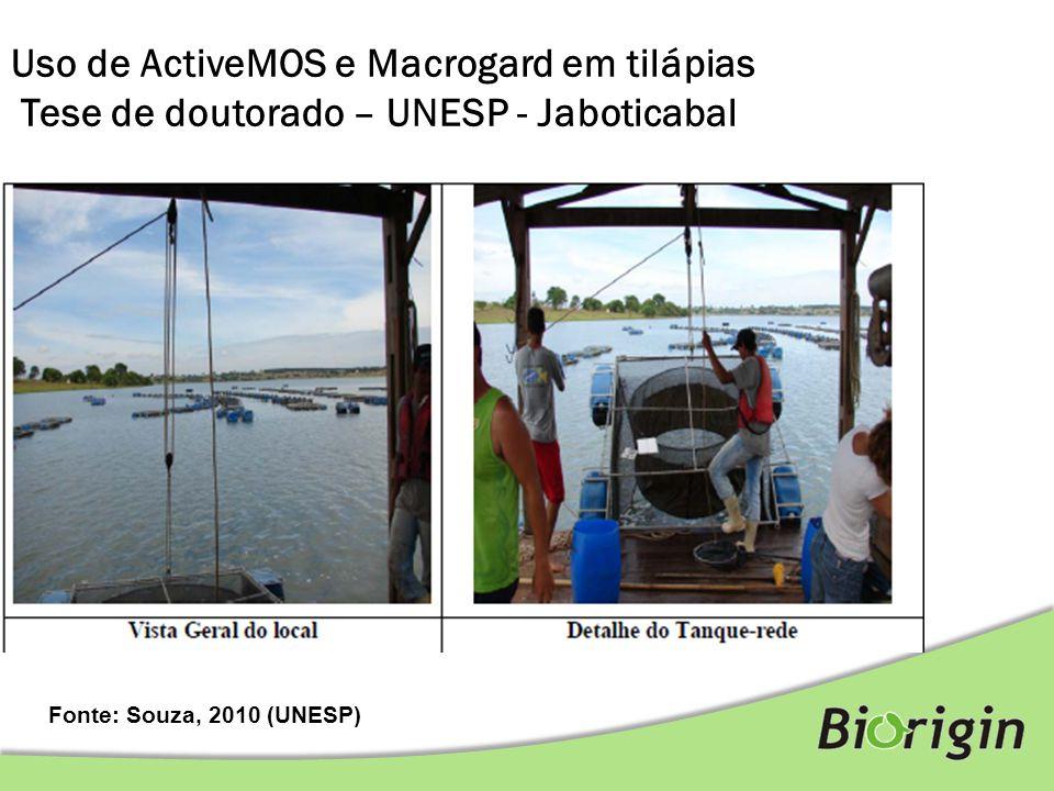 Fonte: Souza, 2010 (UNESP) Uso de ActiveMOS e Macrogard em tilápias Tese de doutorado – UNESP - Jaboticabal