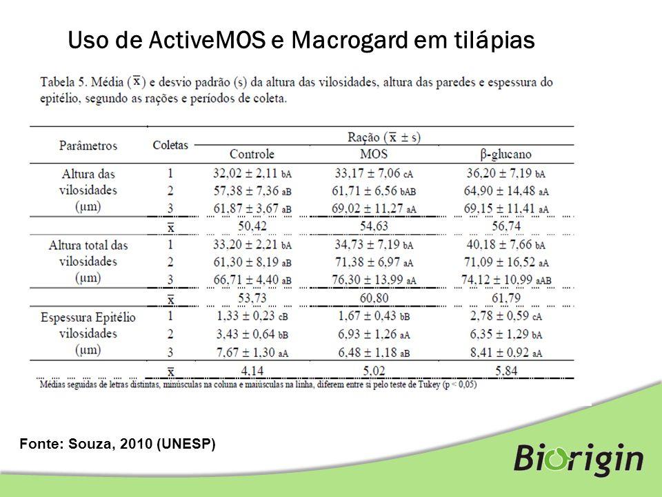 Fonte: Souza, 2010 (UNESP) Uso de ActiveMOS e Macrogard em tilápias Mensuração de enzimas - Proteinases