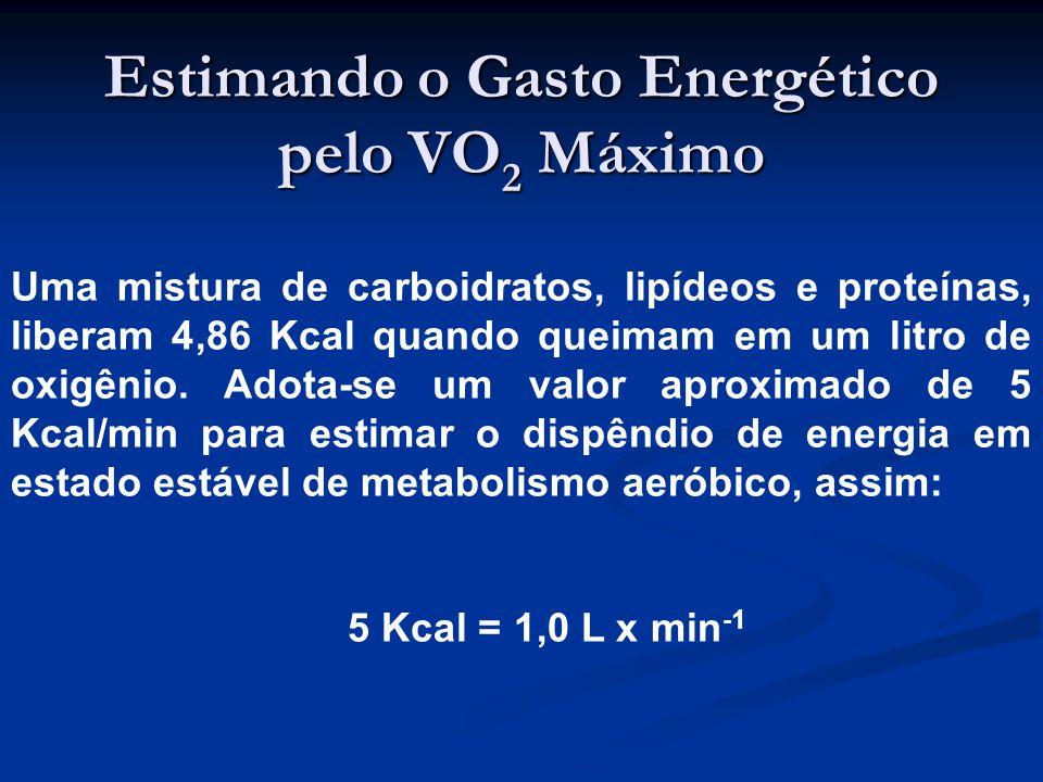 Estimando o Gasto Energético pelo VO 2 Máximo Uma mistura de carboidratos, lipídeos e proteínas, liberam 4,86 Kcal quando queimam em um litro de oxigênio.