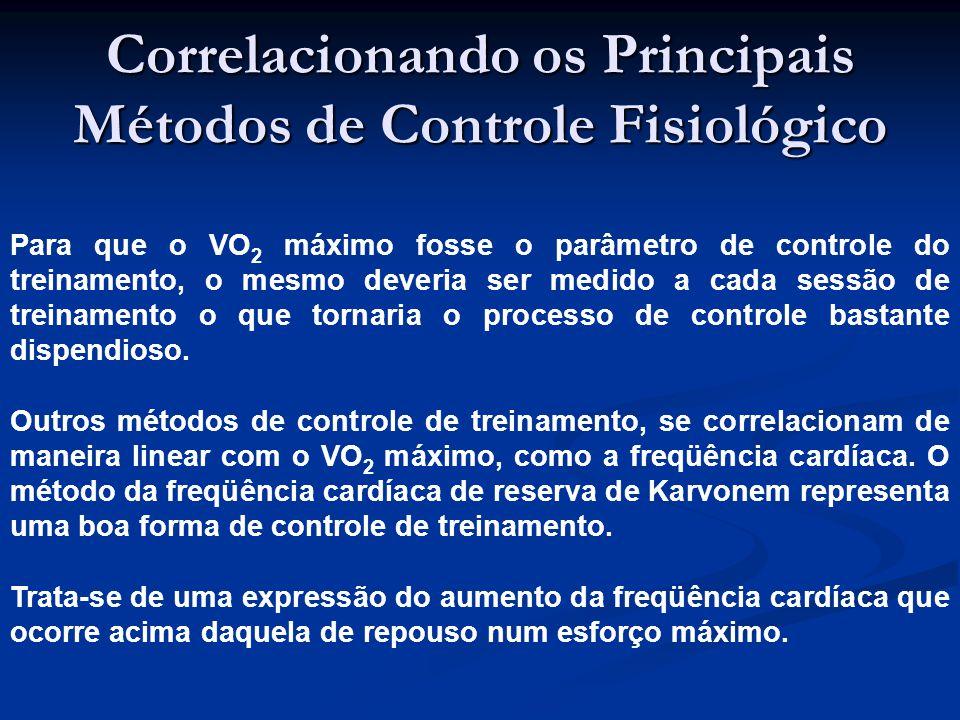 Correlacionando os Principais Métodos de Controle Fisiológico Para que o VO 2 máximo fosse o parâmetro de controle do treinamento, o mesmo deveria ser medido a cada sessão de treinamento o que tornaria o processo de controle bastante dispendioso.