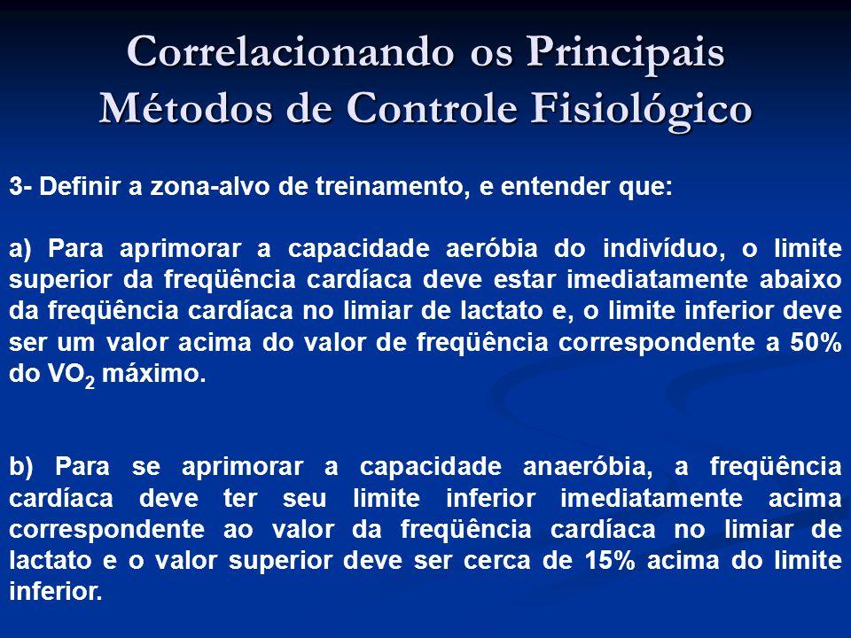 Correlacionando os Principais Métodos de Controle Fisiológico 3- Definir a zona-alvo de treinamento, e entender que: a) Para aprimorar a capacidade aeróbia do indivíduo, o limite superior da freqüência cardíaca deve estar imediatamente abaixo da freqüência cardíaca no limiar de lactato e, o limite inferior deve ser um valor acima do valor de freqüência correspondente a 50% do VO 2 máximo.