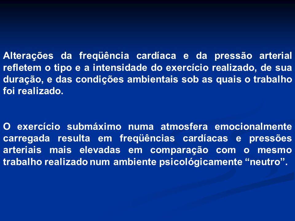 Alterações da freqüência cardíaca e da pressão arterial refletem o tipo e a intensidade do exercício realizado, de sua duração, e das condições ambientais sob as quais o trabalho foi realizado.