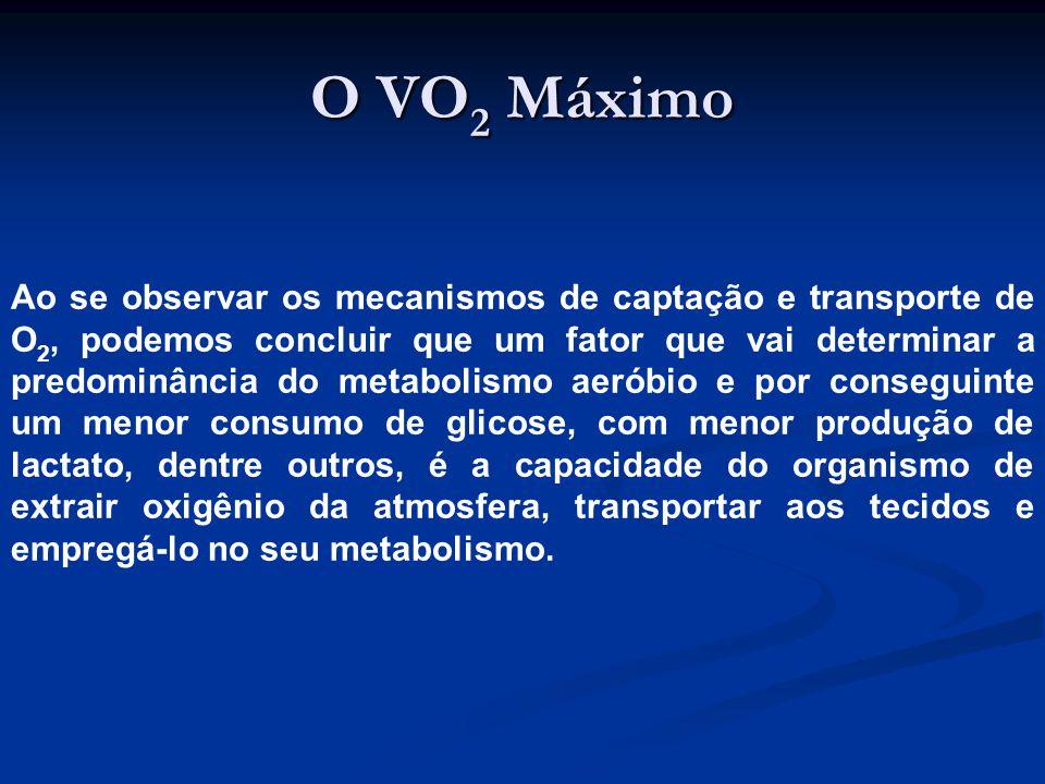 O VO 2 Máximo Ao se observar os mecanismos de captação e transporte de O 2, podemos concluir que um fator que vai determinar a predominância do metabolismo aeróbio e por conseguinte um menor consumo de glicose, com menor produção de lactato, dentre outros, é a capacidade do organismo de extrair oxigênio da atmosfera, transportar aos tecidos e empregá-lo no seu metabolismo.