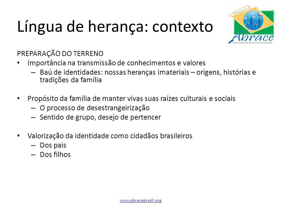 Desafios Gestão – Comitês de trabalho e voluntários Biblioteca (contínuo): infantil e adulto Feira do Livro (bianual): abril e novembro Feira Cultural (anual): maio Lanche/cafezinho (semanal; rodízio): 4 pessoas Arrecadação de fundos (contínuo) Sustentabilidade – Captação de recursos com empresas brasileiras e americanas e governo Materiais – Recursos didático-pedagógicos que considerem o contexto de contato com o Brasil e a enorme diversidade sócio-econômico-educacional em que se encontram os alunos e suas famílias no exterior Abrace, Inc.
