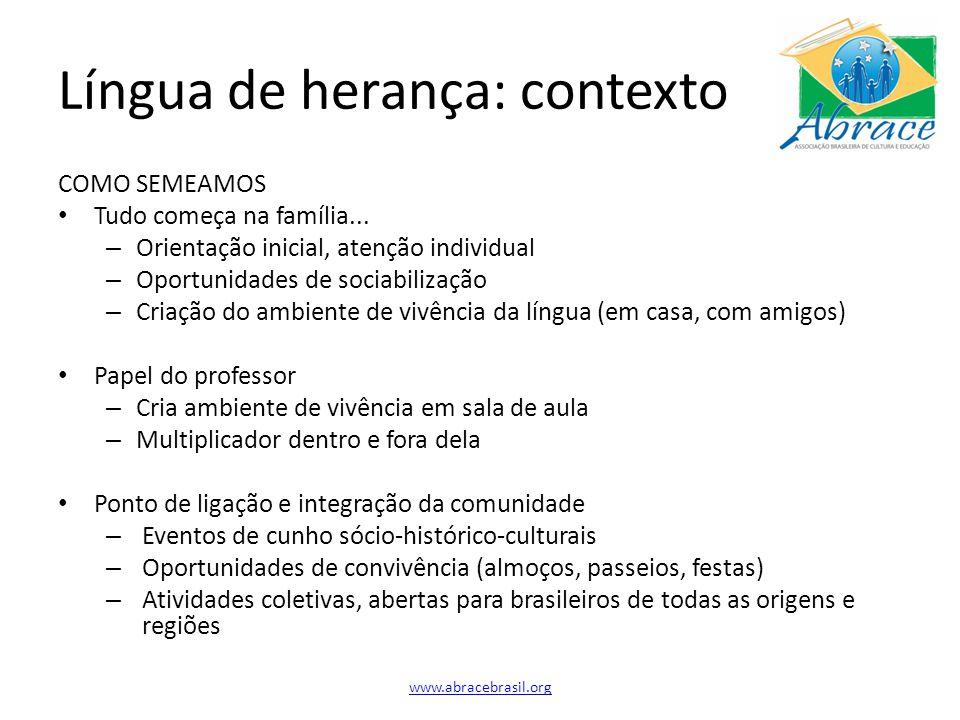 Língua de herança: contexto COMO SEMEAMOS Tudo começa na família...