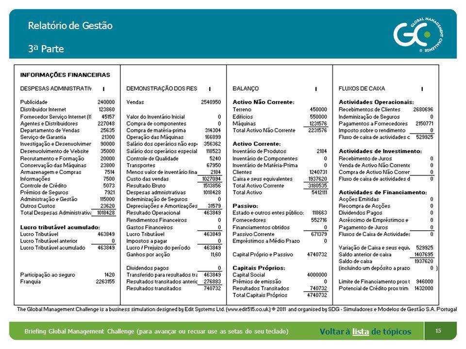 Voltar à lista de tópicoslista Briefing Global Management Challenge (para avançar ou recuar use as setas do seu teclado) 15 Relatório de Gestão 3ª Par