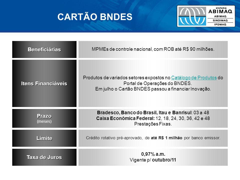 Beneficiárias MPMEs de controle nacional, com ROB até R$ 90 milhões.