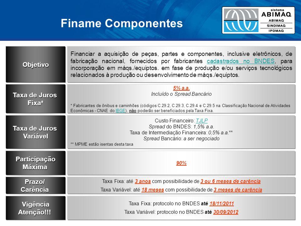 Finame Componentes Objetivo Financiar a aquisição de peças, partes e componentes, inclusive eletrônicos, de fabricação nacional, fornecidos por fabricantes cadastrados no BNDES, para incorporação em máqs./equiptos.