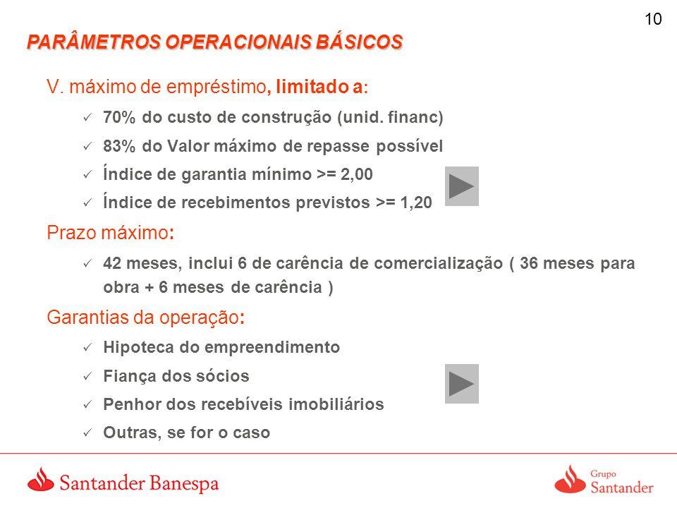 10 V.máximo de empréstimo, limitado a : 70% do custo de construção (unid.