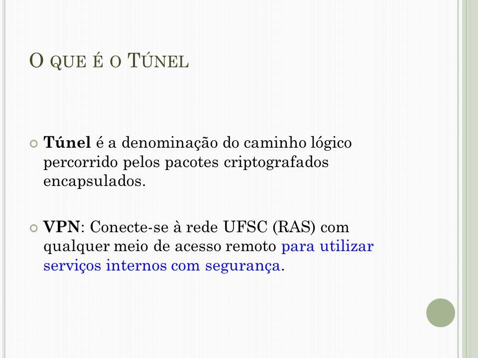 O QUE É O T ÚNEL Túnel é a denominação do caminho lógico percorrido pelos pacotes criptografados encapsulados. VPN : Conecte-se à rede UFSC (RAS) com