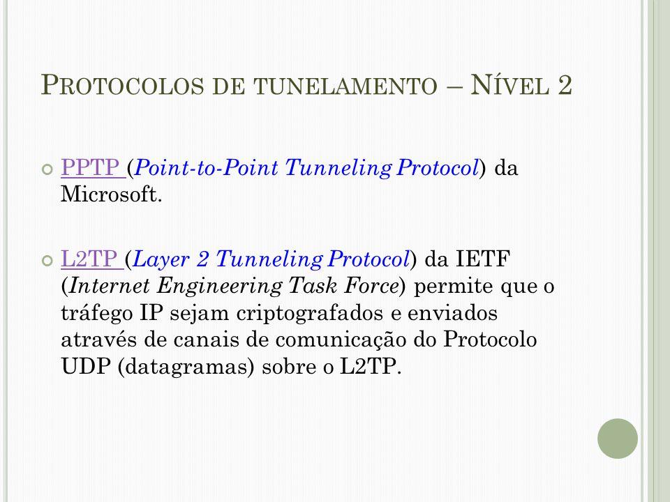 P ROTOCOLOS DE TUNELAMENTO – N ÍVEL 2 PPTP PPTP ( Point-to-Point Tunneling Protocol ) da Microsoft. L2TP L2TP ( Layer 2 Tunneling Protocol ) da IETF (