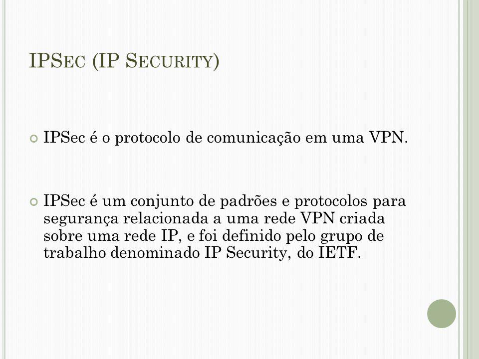 IPS EC (IP S ECURITY ) IPSec é o protocolo de comunicação em uma VPN. IPSec é um conjunto de padrões e protocolos para segurança relacionada a uma red
