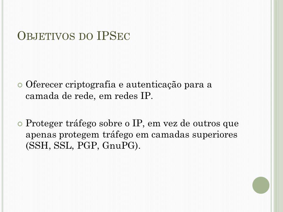 O BJETIVOS DO IPS EC Oferecer criptografia e autenticação para a camada de rede, em redes IP. Proteger tráfego sobre o IP, em vez de outros que apenas