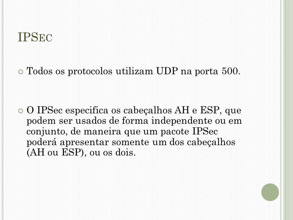 IPS EC Todos os protocolos utilizam UDP na porta 500. O IPSec especifica os cabeçalhos AH e ESP, que podem ser usados de forma independente ou em conj