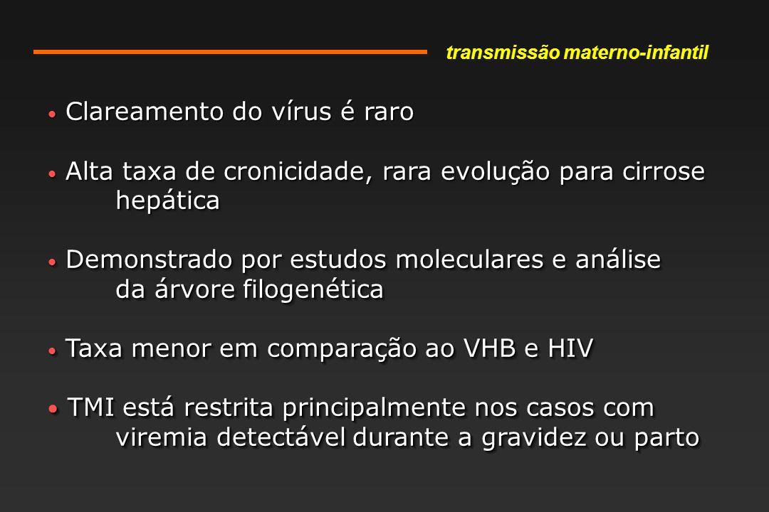 Clareamento do vírus é raro Clareamento do vírus é raro Alta taxa de cronicidade, rara evolução para cirrose hepática Alta taxa de cronicidade, rara evolução para cirrose hepática Demonstrado por estudos moleculares e análise Demonstrado por estudos moleculares e análise da árvore filogenética Taxa menor em comparação ao VHB e HIV Taxa menor em comparação ao VHB e HIV TMI está restrita principalmente nos casos com viremia detectável durante a gravidez ou parto TMI está restrita principalmente nos casos com viremia detectável durante a gravidez ou parto Clareamento do vírus é raro Clareamento do vírus é raro Alta taxa de cronicidade, rara evolução para cirrose hepática Alta taxa de cronicidade, rara evolução para cirrose hepática Demonstrado por estudos moleculares e análise Demonstrado por estudos moleculares e análise da árvore filogenética Taxa menor em comparação ao VHB e HIV Taxa menor em comparação ao VHB e HIV TMI está restrita principalmente nos casos com viremia detectável durante a gravidez ou parto TMI está restrita principalmente nos casos com viremia detectável durante a gravidez ou parto transmissão materno-infantil