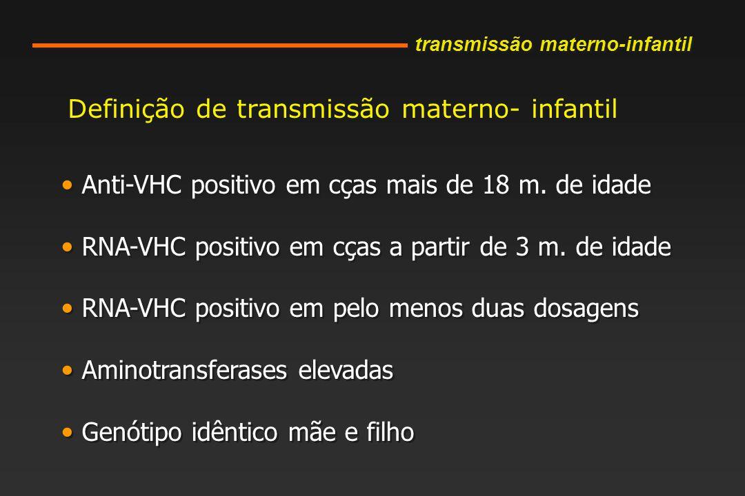 Definição de transmissão materno- infantil Anti-VHC positivo em cças mais de 18 m.