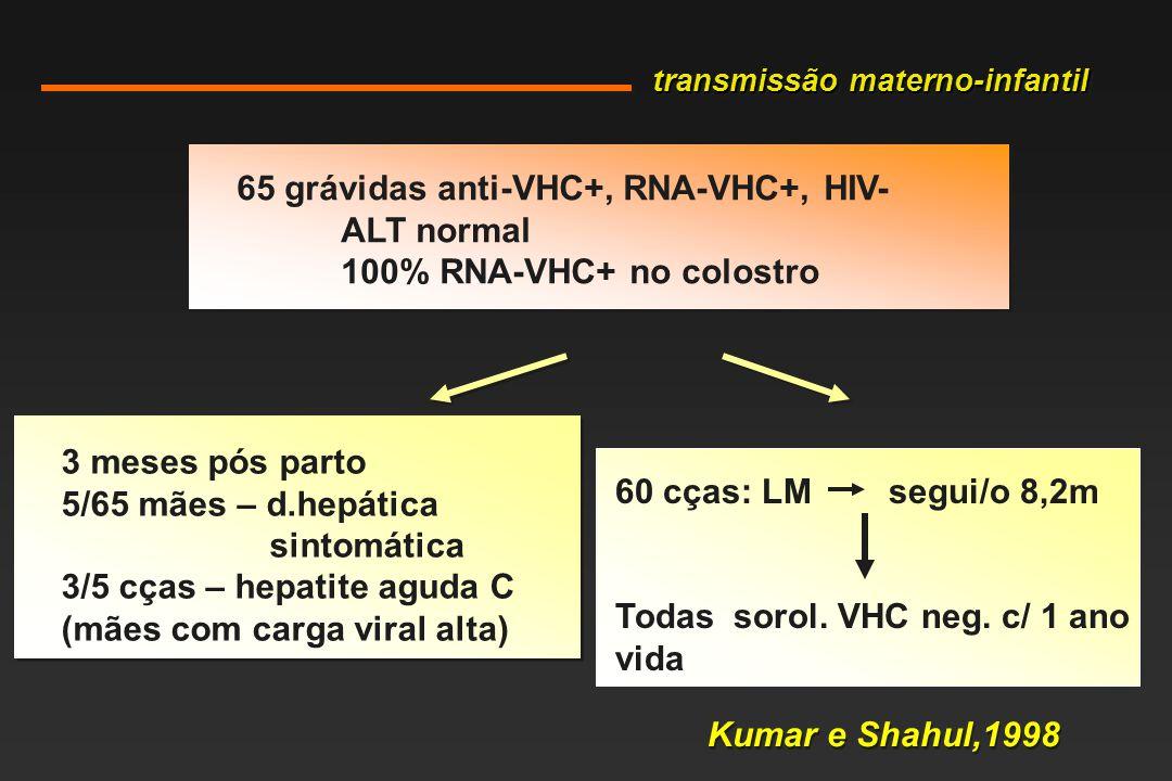 65 grávidas anti-VHC+, RNA-VHC+, HIV- ALT normal 100% RNA-VHC+ no colostro 3 meses pós parto 5/65 mães – d.hepática sintomática 3/5 cças – hepatite aguda C (mães com carga viral alta) 60 cças: LM segui/o 8,2m Todas sorol.