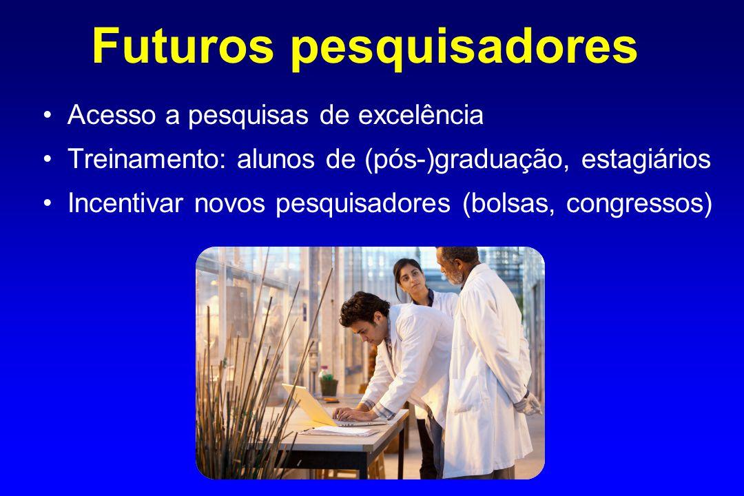 Futuros pesquisadores Acesso a pesquisas de excelência Treinamento: alunos de (pós-)graduação, estagiários Incentivar novos pesquisadores (bolsas, congressos)