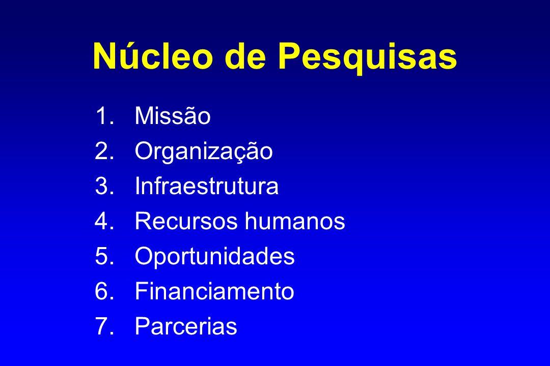 Núcleo de Pesquisas 1.Missão 2.Organização 3.Infraestrutura 4.Recursos humanos 5.Oportunidades 6.Financiamento 7.Parcerias