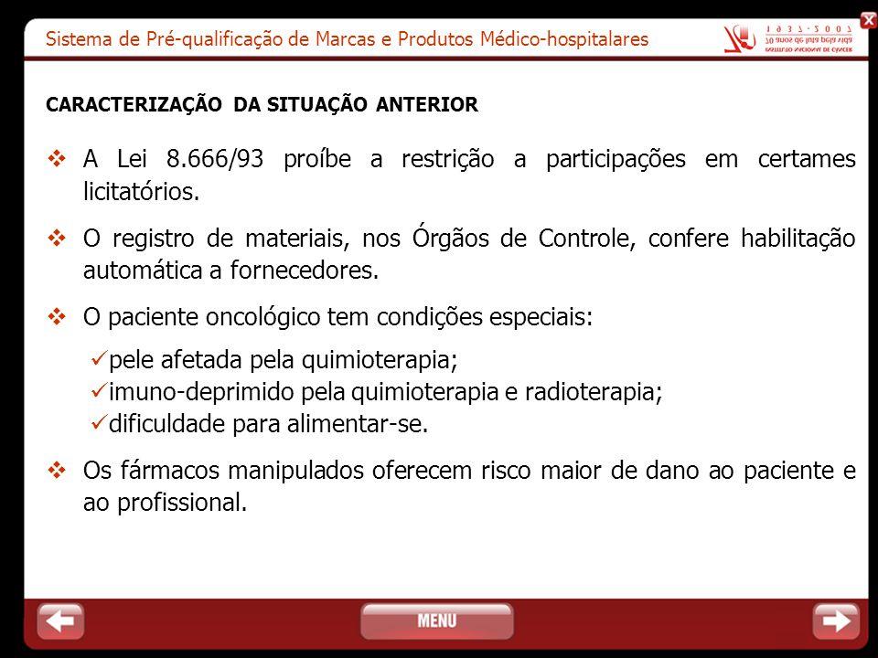Sistema de Pré-qualificação de Marcas e Produtos Médico-hospitalares CARACTERIZAÇÃO DA SITUAÇÃO ANTERIOR  A Lei 8.666/93 proíbe a restrição a partici