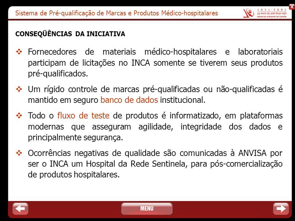 Sistema de Pré-qualificação de Marcas e Produtos Médico-hospitalares CONSEQÜÊNCIAS DA INICIATIVA  Fornecedores de materiais médico-hospitalares e lab